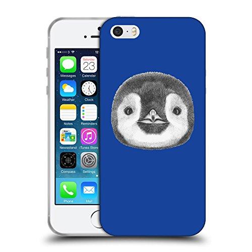 GoGoMobile Coque de Protection TPU Silicone Case pour // Q05310613 Visage pingouin Bleu // Apple iPhone 5 5S 5G SE