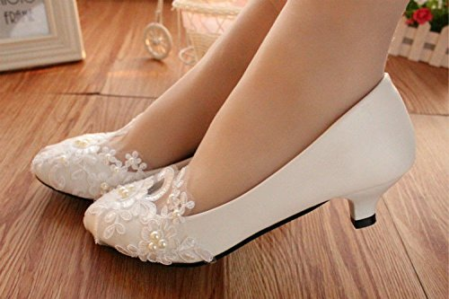 de JINGXINSTORE US de el bajo 3 5 11 de encaje blanca tacones talón 7 cm tamaño novias boda nupcial perla bomba de blanco zapatos qwBpqrx5