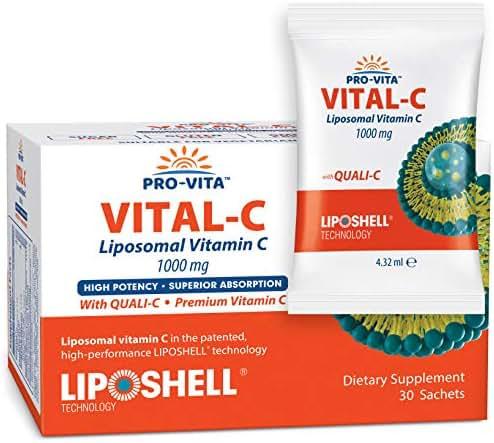 Liposomal Vitamin C 1000 mg x 30 Sachets, European Quali-C China-Free Vitamin C, Highest Bioavailability, Collagen and Immune System Booster, Best Lypo Spheric Vitamin C to Support Anti Aging Skin