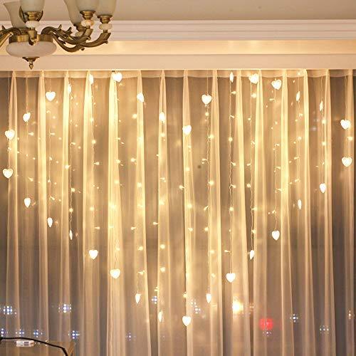 Tuscom 2M x 1.5M 124 Lights Love LED Lights   Lover Heart Curtain Lights Wedding Room Decoration White Ice Curtain Lamp Light String Airy Outdoor Xmas Garden Decor Lamp (Yellow) by Tuscom@ (Image #4)