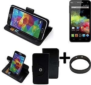 TOP SET: 360° Funda Smartphone para Wiko Rainbow, negro + anillo protector | Función de stand Caso Monedero BookStyle mejor precio, mejor funcionamiento - K-S-Trade