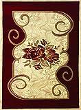 Modern Burgundy Red Beige Flower Design Hand Carved Machine Made Area Rug 4 by 6 For Sale