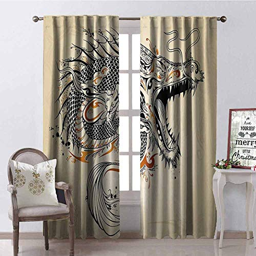 GloriaJohnson Japanese Dragon 99% Blackout Curtains Doodle Style Roaring Creature with Tail Fangs Scales Tribal Details for Bedroom Kindergarten Living Room W52 x L54 Inch Tan Black Gold