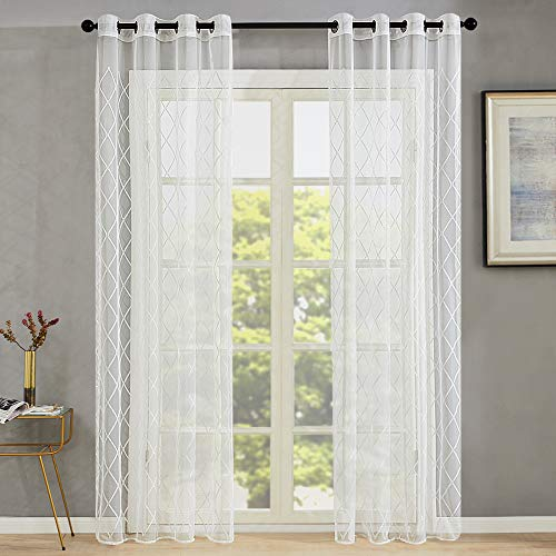Sheer Curtains White Embroidered Curtain Sheers Living Room 84 inches Long Trellis Geometry Diamond Embroidery Gauzy Curtain Panels Lattice Bedroom Drapes Window Treatment Set 2 Panels Grommet Top