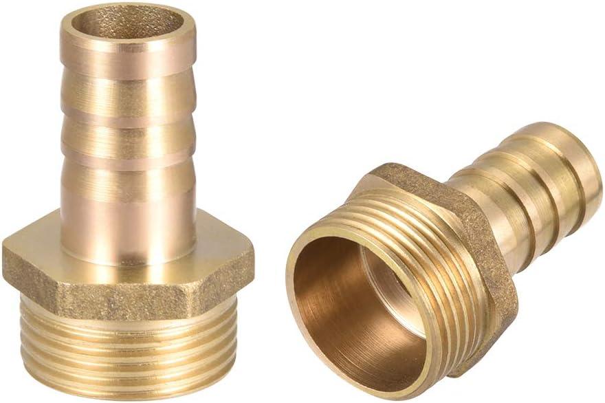 sourcing map Messing Schlauchanschluss Adapter 10mm Widerhaken x 3//8 G Stecker Rohr