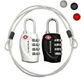 2 Pack Lumintrail TSA Approved All Metal International Travel Luggage 4 Digit Resettable Combination Lock with 4-ft Steel Cable for Suitcase and Baggage - Assorted Colors (Black + Silver)