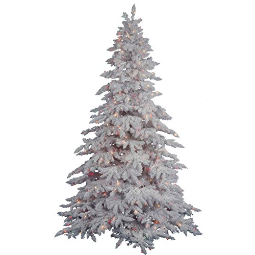 Vickerman Pre-lit Flocked White Artificial Tree with 250 Multicolored LED Lights, 4.5 - Tree Flocked Lit Pre Christmas