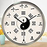Znzbzt Simple Creative Mute Wall Clock Traditional Chinese Foot spa and Massage parlors in The Hospital Ward 医 feng Shui Decorative Wall Clock Mute Watches, 12 inch, silv