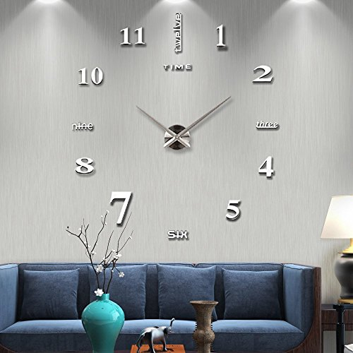 Vangold Frameless DIY Wall Clock Large Modern 3D Wall Clock Mirror Stickers Silent Home Living Room Office Decor Silver(2-Year - Figure Hand Stick