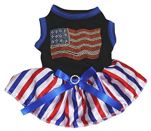 Petitebella Rhinestones USA Flag Black Shirt RWB Striped Tutu Puppy Dog Dress (Small) (Rhinestone Dress Dog)