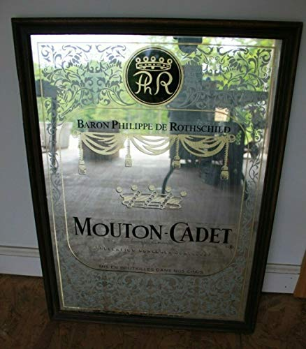 Mount-Cadet Vintage Bar Sign Mirror Baron Philippe De Rothschild wine cellar Ad