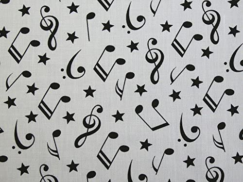 1 Metro de Poli Algodón con pequeñas notas musicales en colores brillantes en Blanco