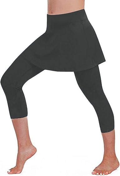 Mujer 3/4 Pantalones Cortos Deportivo de Yoga, Falda Elástico ...