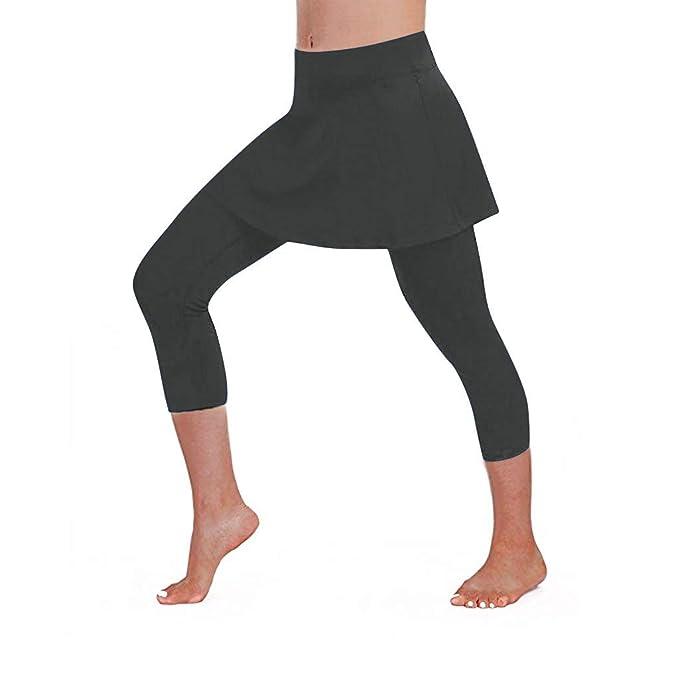Mujer 3/4 Pantalones Cortos Deportivo de Yoga, Falda ...