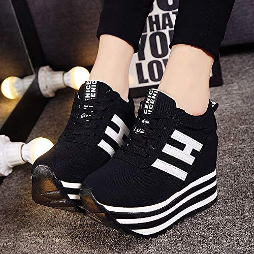 Wealsex Basket Compensée Toile Plateforme Noir Bateau Femme Semelle Epaisse Sneakers Chaussure Mode Décontracté 4OwxIdw