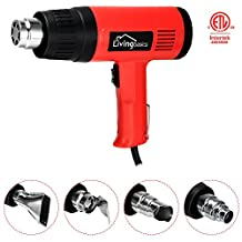 LivingBasics™ 1500w Dual Temperature Heat Gun Hot Air Gun Wind Blower Tool for DIY & Professionals, with 4 Nozzels Power Heater, Red