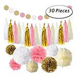 30 Pcs Pink Gold Tissue Paper Flowers Balls for Birthday Wedding Party Decorations
