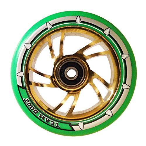 チームDogz 100 mmスクーターホイール – クロムSwirl withゴールド/ネオングリーンタイヤ
