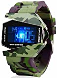 Military Cool LED Display Colorful Light Digital Sport Stealth Fighter Style Army Camo Silicone Watch