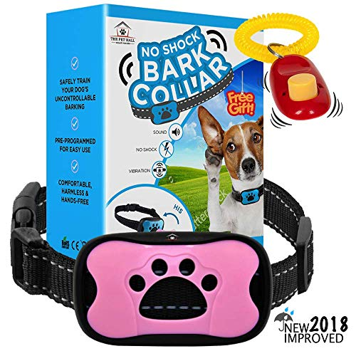 ThePetHall 2018 Humane No Shock Bark Collar for Dogs 10 lbs - 110 lbs. Automatic All Weather Bark Deterrent E Collar Small Medium & Large Dogs. Free Bonus! Pet Training Clicker & Bark Training eBook