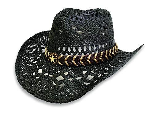 - Men's & Women's Western Style Cowboy/Cowgirl Toyo Straw Hat (Black-Star)