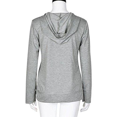 Tongshi Mujeres Letra Impresión de la Sudadera con capucha Con capucha Jersey Tapas de Capa Camisas Blusa Gris