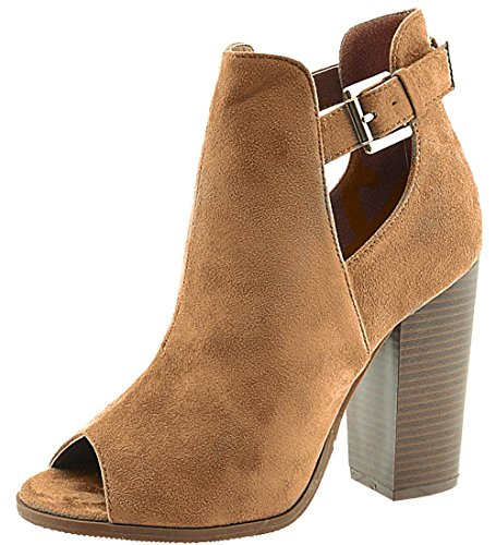 Anna Shoes Women's Cutout Side Buckle Peep Toe Stacked Chunky Heel Ankle Bootie (8.5 B(M) US, Tan) (Tan Peep Toe)