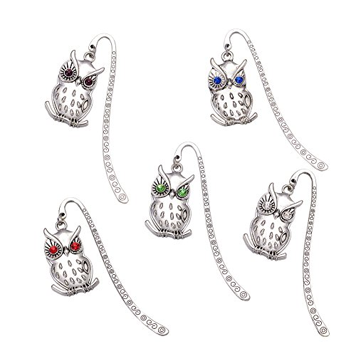Silver Pin Tibetan Hair (Fashewelry 20PCS Mixed Color Silver Tone Tibetan Style Owl Metal Bookmarks Hairpins with Grade A Rhinestone)
