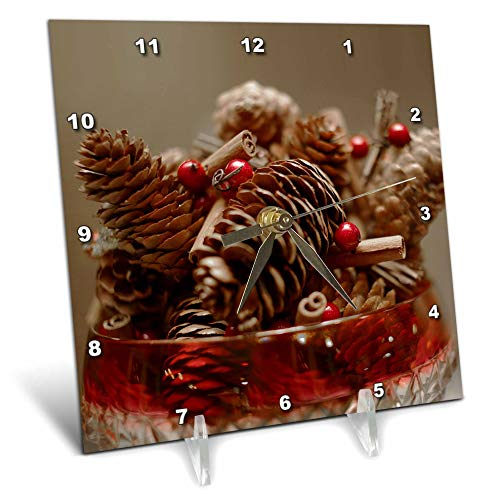 (3dRose Stamp City - Still Life - A Photograph of a Candy Bowl Filled with Pinecone and Berry Garland. - 6x6 Desk Clock (dc_302862_1))