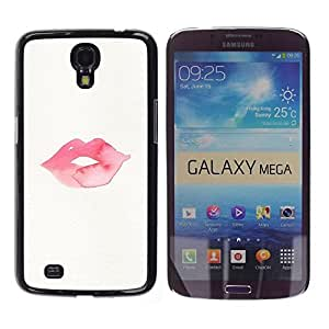 Be Good Phone Accessory // Dura Cáscara cubierta Protectora Caso Carcasa Funda de Protección para Samsung Galaxy Mega 6.3 I9200 SGH-i527 // Lips Kiss Love Pink Red Minimalist White