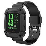 For Fitbit Versa Band and Case, UMTELE [Rugged Pro] Resilient Protective Case with Strap for Fitbit Versa, Black/Black