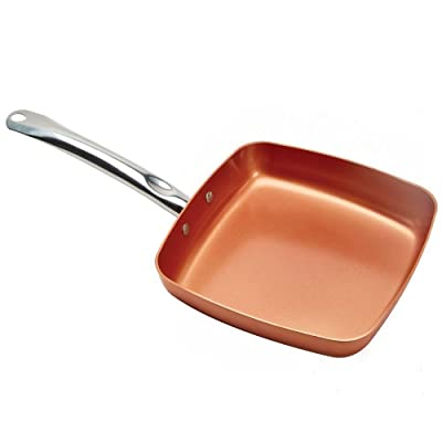 Nonstick Copper Frying Pan Set - 9.5-Inch Red Square Fry Pan with Ceramic Coating