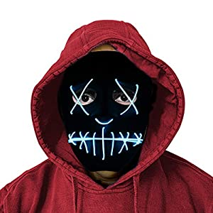 LED Purge Mask - Halloween Cosplay Mask for Kids with Safe EL Wire