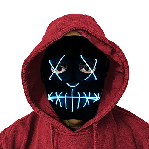 LED Purge Mask - Halloween Cosplay Mask for Kids with Safe EL -