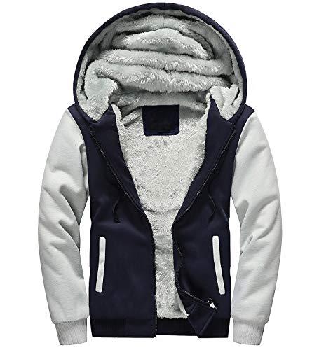 Yeokou Men's Thick Sherpa Lined Full Zip Up Fleece Hoodie Sweatshirt Winter Coat (X-Large, Blue-Grey)
