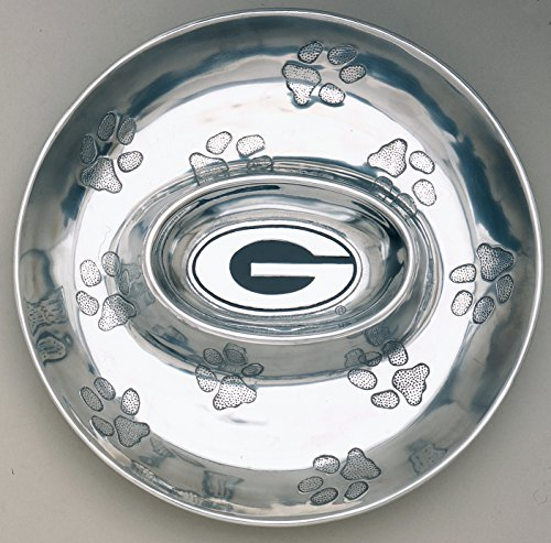 Aluminum University of Georgia Bulldog Chip & Dip Serving Tray by Arthur Court 14 inch Long (Georgia Chip)