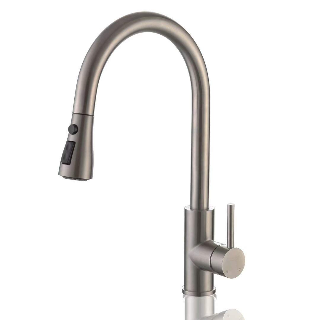 PT Single Handle High Arc Kitchen Faucet, Lead Free Stainless Steel Brushed, Pull Down Sprayer with Triple Modes, Modern Commercial Kitchen Sink Faucet (Without Deck Plate)