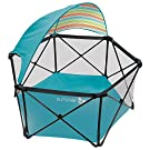 New Summer Infant Safe Portable Pop 'n Play Tropical Turquoise Ultimate Playard with Removable Colorful Striped Canopy