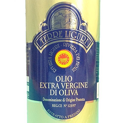 Riviera Ligure extra virgin oil pdo has got by olives called Taggiasche, lt 0,50 (17,6 ounce) x 2 gold cover bottle