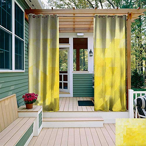 leinuoyi Yellow, Outdoor Curtain Kit, Simple Triangle Shaded Wavy Retro Mosaic Motifs Poly Gradient Illustration Art Print, Set for Patio Waterproof W72 x L96 Inch Yellow