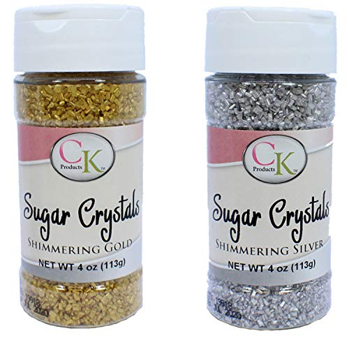 CK Shimmering Gold and Silver Sugar Crystals - 4 Ounce Each Jar