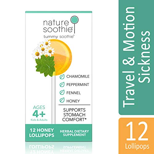 (nature soothie Tummy Honey Lollipops - (Peppermint, Fennel & Chamomile) Herbal Supplement - Kids & Adults Natural Stomach & Digestion Comfort Pops - Motion/Car Sickness Suckers - 12 Count)