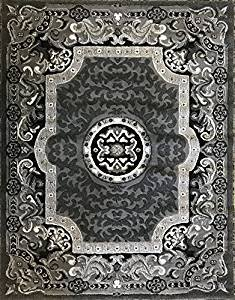 Carpet King Traditional Persian Oriental Area Rug Grey Black Silver Gray Design 101 6 Feet X 9 Feet