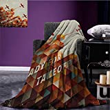 Vintage Airplane Custom blanket Ready For Take Off Retro Style Geometric Pattern Triangles Clouds Planes all weather blanket Multicolor size:50''x60''