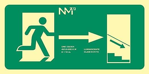 Normaluz RD11140 - Señal Luminiscente Salida Escalera Derecha Abajo Clase B PVC 0,7mm 32x16cm con CTE, RIPCI y Apto para la Nueva Legislación: Amazon.es: Industria, empresas y ciencia