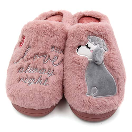 Slipper Women's Pink Indoor Outdoor Memory Warm Boot Foam Animal Dog ALOTUS HwS6q