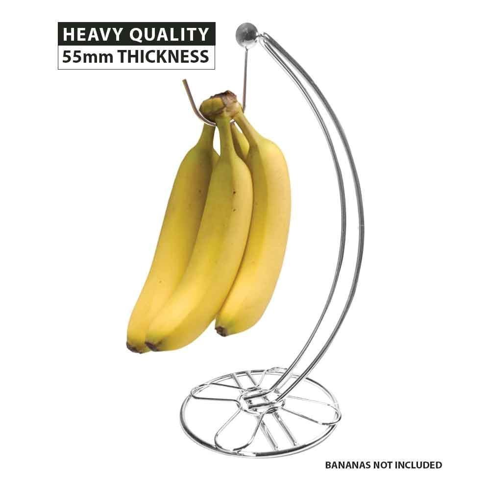 ASAB Modern Chrome Plated Banana Fruit Tree Holder Stand Stylish Grapes Rack Strong Base Free Standing Kitchen Aid Accessory
