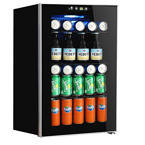 Beverage Refrigerator and Cooler,85 Can or 60 Bottles Capacity with Glass Door for Soda Beer or Wine,Touch Panel Digital Temperature Display (Small Refrigerator Glass)