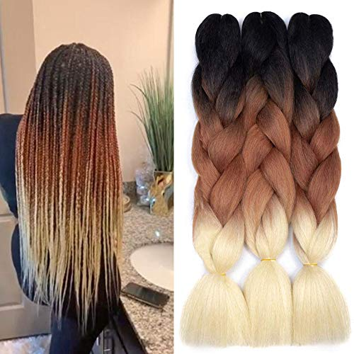 Kanekalon Braiding Extensions Synthetic Black Brown Blonde product image