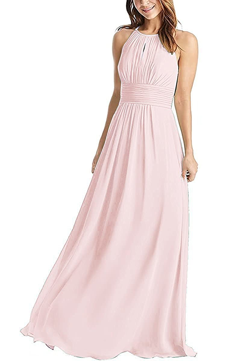 Weddder Halter Bridesmaid Dresses Long A-Line Pleated Empire Waist Chiffon  Prom Dresses at Amazon Women s Clothing store  6a92dfb24756